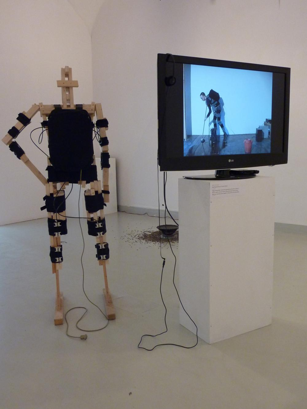 Wearable Sound, motion capture - digital audio instrument, performance documentation, 2004-2013. Installation view from Stimulated Vibrations at MAGMA, Sf. Gheorghe, 2013