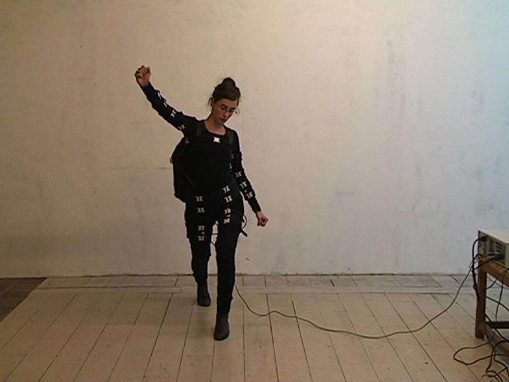 "Wearable Sound: Work - our victorious plan runs across our happy bodies, video (1'17""), 2012, video still"